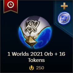 1 Worlds 2021 Orb 16 Tokens